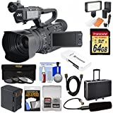 JVC GY-HM170U Ultra 4K HD 4KCAM Professional Camcorder & Top Handle Audio Unit with XLR Microphone + 64GB Card + Battery + Hard Case + LED Light Kit