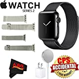 Apple Watch Series 2 38mm Smartwatch (Space Black Stainless Steel Case, Space Black Milanese Loop Band) + Watch Band Silver Mesh 38mm + Watch Band Space Gray Mesh 38mm + MicroFiber Cloth Bundle