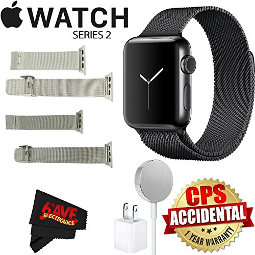 Apple Watch Series 2 38mm Smartwatch (Space Black Stainless Steel Case, Space Black Milanese Loop Band) + Watch Band Silver Mesh 38mm + Watch Band Space Gray Mesh 38mm + MicroFiber Cloth Bundle by 6Ave