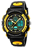 Kids Sport Digital Watch Boys Outdoor Waterproof Watches Girls Electronic Watch with Alarm, Chronograph Calendar Date - Yellow