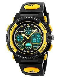 Kids Unusual Analog Quartz Dual Time Zone Digital Outdoor Sport Waterproof PU Resin Band Watch with Alarm, Chronograph, EL Back Light, Classic Design Calendar Date Window, for Boys Girls - Yellow