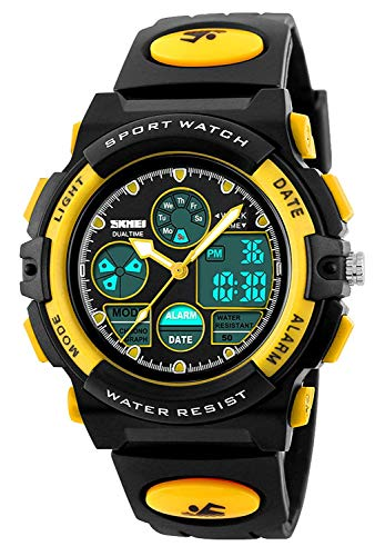 Chronograph Yellow Wrist Watch - Kids Sport Digital Watch Boys Outdoor Waterproof Watches Girls Electronic Watch with Alarm, Chronograph Calendar Date - Yellow