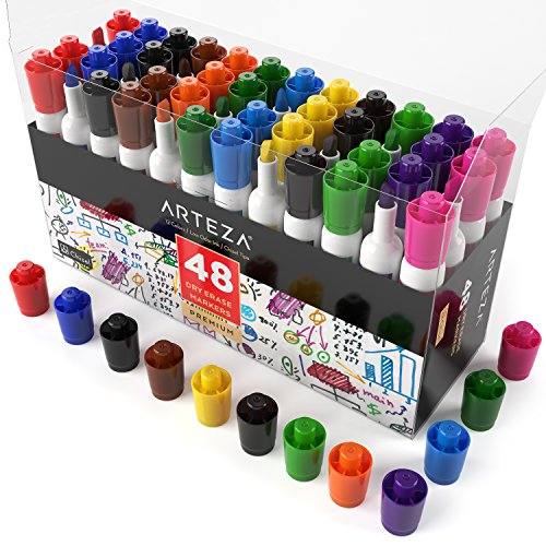 Arteza Dry Erase Markers, White Board Pens, 12 Colors, Multicolor, Set of 48 Photo #2