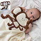 Baby-Touch Baby Plush Unisex Easy-Sleep Blanket, Monkey. Super-Soft Lightweight. Free Ebook Gift.