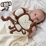 Baby-Touch Baby Plush Unisex Easy-Sleep Blanket, Monkey. Super-Soft Lightweight. Free Ebook Gift.