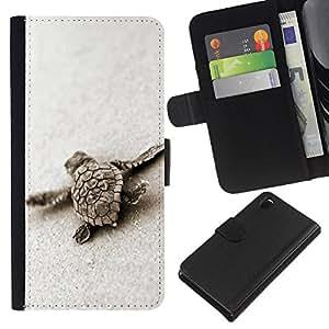 EJOY---La carpeta del tirón la caja de cuero de alta calidad de la PU Caso protector / Sony Xperia Z3 D6603 / --Tortuga linda del bebé Arena Mar Animales Marinos