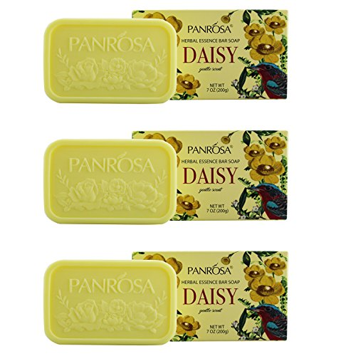 Panrosa 7.0 OZ Herbal Essence/Daisy Extract Bar Soap For Body and Face. Pack of 3, Moisturizing Soap Bar For Men and Women. Made In USA.(Daisy, Pack of 3)