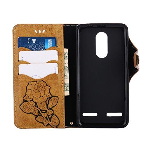 MEIRISHUN Leather Wallet Case Cover Carcasa Funda con Ranura de Tarjeta Cierre Magnético y función de soporte para Lenovo K6 - Rosado Caqui