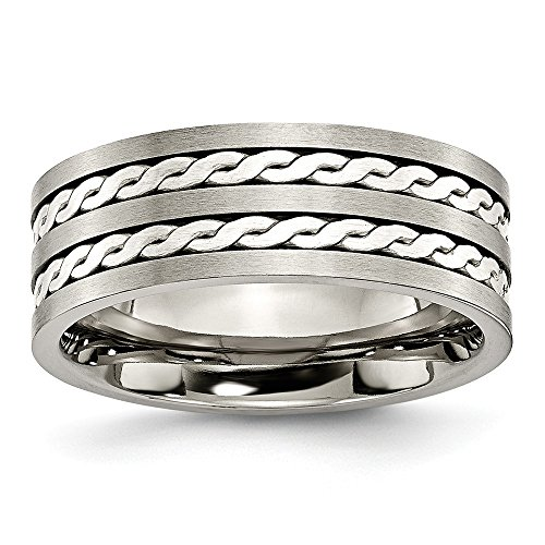 Titanium 925 Sterling Silver Braided Inlay 8mm Brushed Wedding Ring Band Size 7.00 Precious Metal Fine Jewelry Gifts For Women For Her