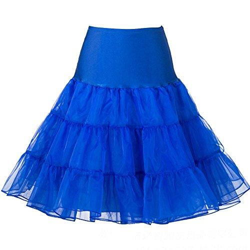 Oyeahbridal Women Vintage 50s Tutu Skirts Petticoat Rockabilly Crinoline Underskirt, Royal Blue, Medium - Blue Vintage Underwear