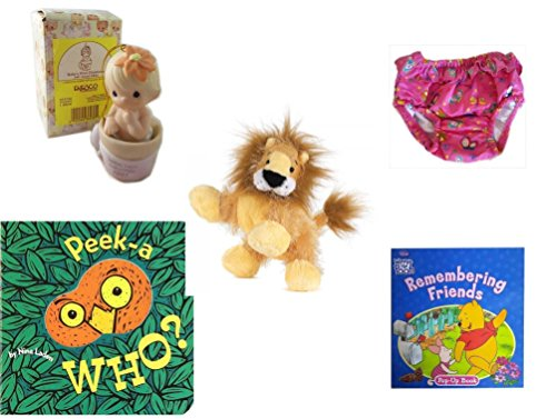Children's Gift Bundle - Ages 0-2 [5 Piece] Includes: Precious Moments Baby's First Christmas Boy Ornament '97 Retired, Circo Infant Girls Swim Diaper Bikini Bottom Pink Butterfly 18 Months 22-25 lb by Secure-Order-Marketplace Gift Bundles