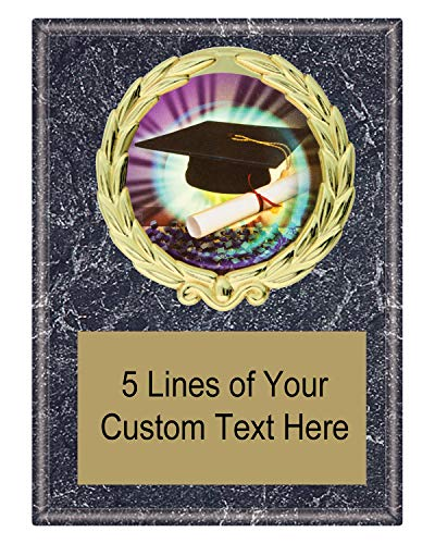 Express Medals 5x7 Black Marble Color Graduation Graduate Plaque Award Trophy with Engraved Plate MY4