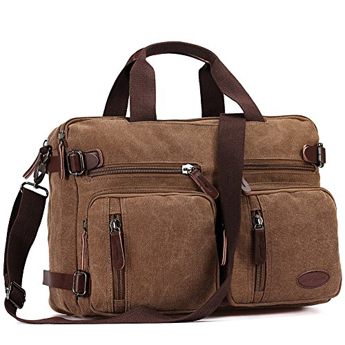 15 Inch Laptop Bag,Sheng TS Hybrid Multifunction Briefcase Messenger Bag Versatile Laptop Backpack with Shoulder Strap Canvas BookBag for Men,Women,College Students (Vintage Brown Canvas,15.6 inch)