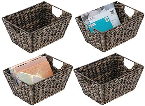 picture of mDesign Natural Woven Hyacinth Closet Storage Organizer Basket Bin » Collapsible