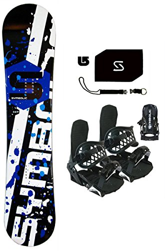 Symbolic Chopper Kids Snowboard & Bindings & Leash & Stomp & Burton Decal Package (Symbolic Black Bindings (fits 12c-6), 100cm Symbolic Rocker)