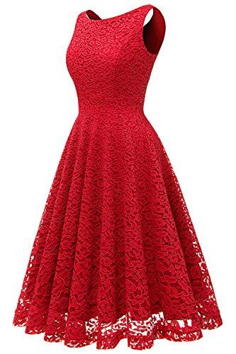Encaje Mujer Bbonlinedress Sin Boda Fiesta Elegante Rojo Cóctel Vestido Noche Corto Mangas Playa De qXXtB6