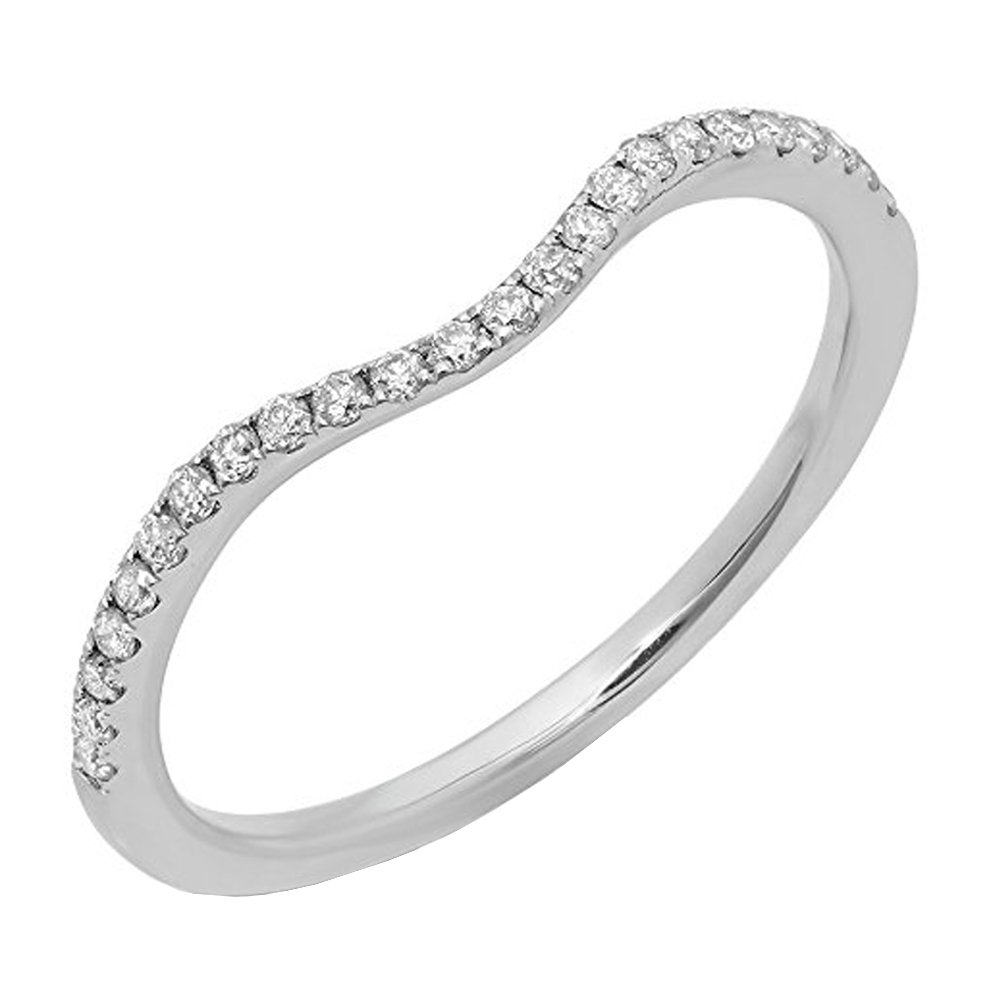 Dazzlingrock Collection 0.20 Carat (ctw) 14K Round Diamond Ladies Wedding Contour Guard Band 1/5 CT, White Gold, Size 9 by Dazzlingrock Collection