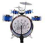 Kids Drum Set Childrens 13 PC Musical Instrument Drum Play Set w/ 6 Drums, 3 Cymbals, Chair, Kick Pedal, Drumsticks (Blue Color)