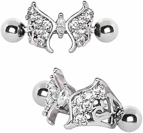 9afb6b80d 316L Stainless Steel Fancy Jeweled Butterfly WildKlass Cartilage Cuff  Earring