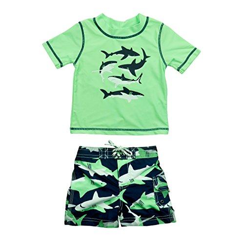 Carter's Baby Boys' Infant Shark Rash Guard Swim Set, Green, 6-9 Months ()