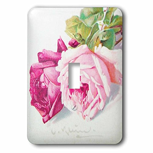 InspirationzStore Vintage Art - Catherine Klein pink and red roses painting copy - vintage floral art - antique feminine flowers - Light Switch Covers - single toggle switch - Outlet Floral Cover