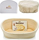 10 Inch Oval Banneton Proofing Basket - Set for Professional and Home Bakers (Sourdough Recipe) Bowl Scraper and Brotform Cloth Liner
