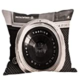 Chenway Decorative Pillow Case Colorful Vintage Camera Pillowcase 18x18 Inches Cotton Linen Chair Seat Throw Pillow Cover Home Decor Cushion Cover Case (A)