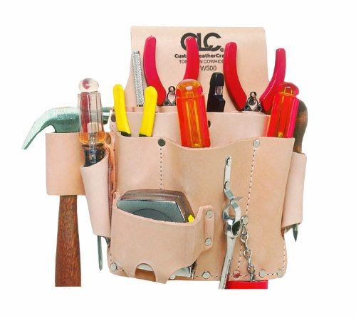 CLC Custom Leathercraft W500 Electrician's Tool Pouch, Top Grain Leather, 8-Pocket