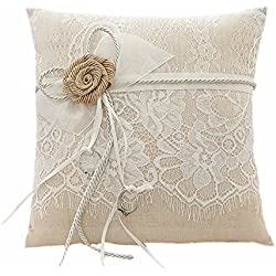 Amajoy Vintage Rustic Burlap Lace Wedding Ring Pillow 7.5 inch x 7.5 inch