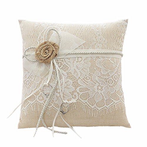 Lace Wedding Ring Pillow - Amajoy Vintage Rustic Burlap Lace Wedding Ring Pillow 7.5 inch x 7.5 inch