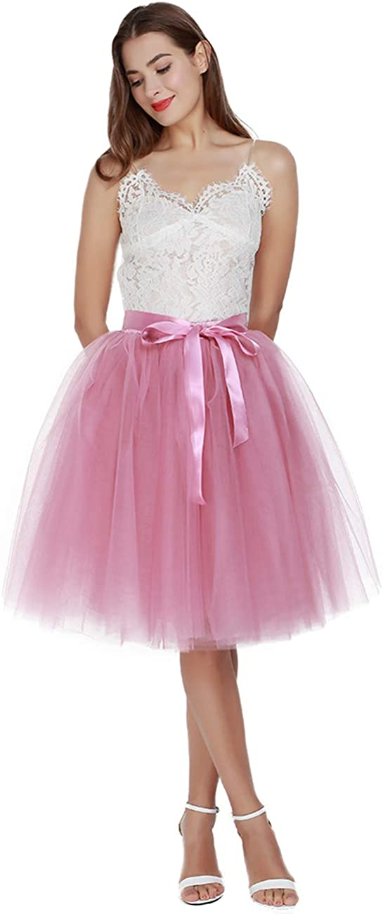 80s Dress Styles | Party, Prom, Formal Womens High Waist Pleated Princess A Line Midi/Knee Length Tutu Tulle Skirt for Prom Party $41.00 AT vintagedancer.com