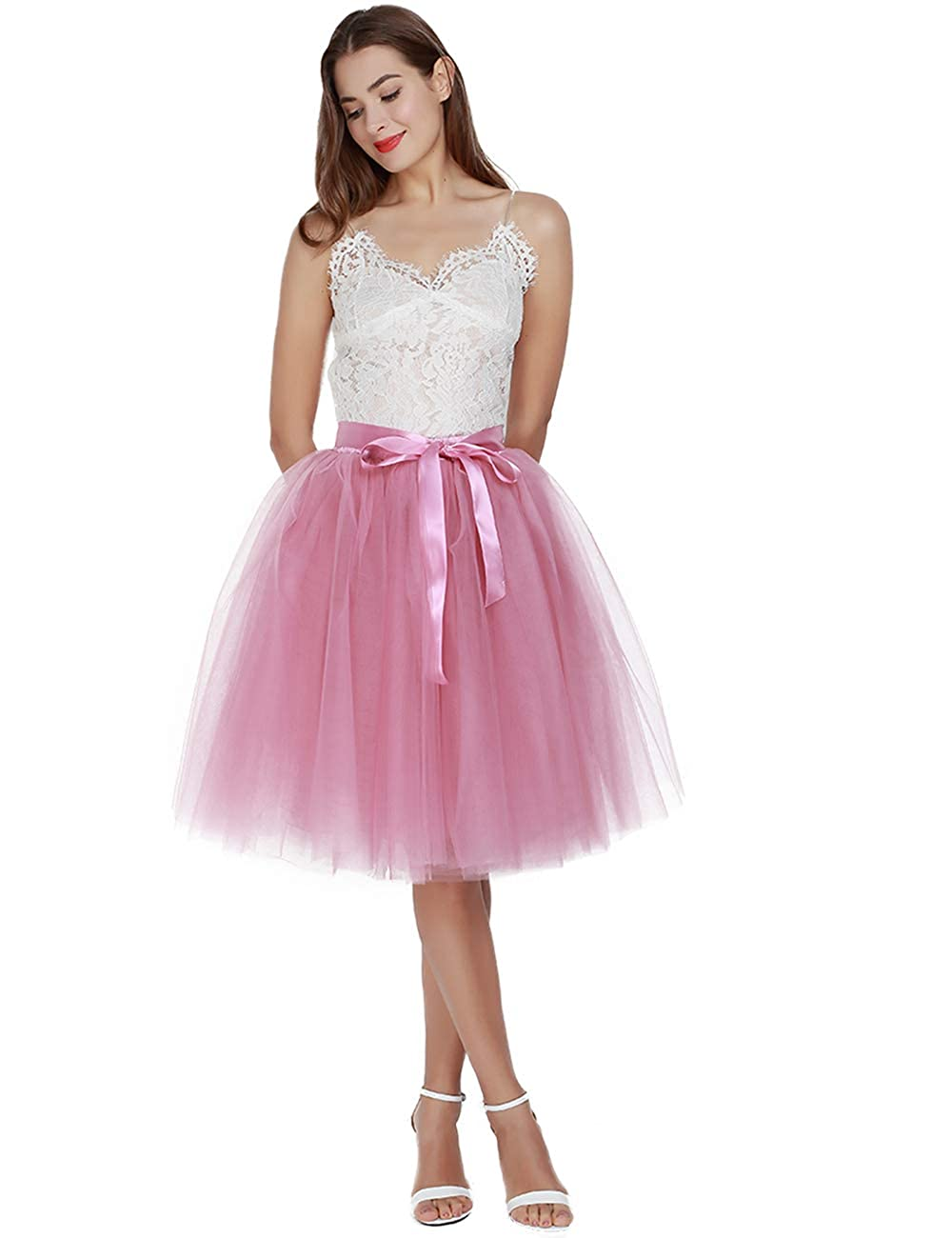 80s Prom Dresses – Party, Cocktail, Bridesmaid, Formal Womens High Waist Pleated Princess A Line Midi/Knee Length Tutu Tulle Skirt for Prom Party $41.00 AT vintagedancer.com