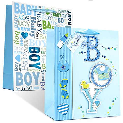 2 pc BabyShower& Birthday Premium Large Gift bags for Baby Boy with 2 design # 2 ( Boy 2)