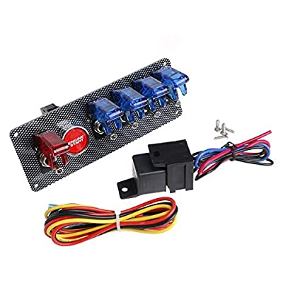 5 Gang Racing car Toggle Switch Panel with Engine Start Push Button (5 Gang Blue and Red): Industrial & Scientific