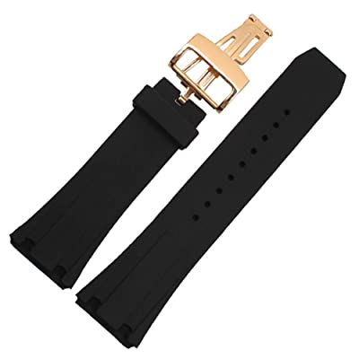 Choco&Man US Audemars Piguet Watch Band Replacement Watch Strap Quick Release Deployment Butterfly Buckle with Tool 26mm/28mm Silicone Black: Sports & Outdoors