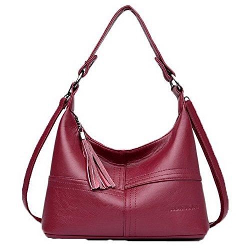 bandoulière à Des frange Sacs sacs Pu La Femme Vineux Odomolor ROFBL180852 Rouge Cuir Achats pzqB1nv