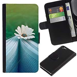 For Apple Apple iPhone 6(4.7 inches),S-type® Daisy Book Reading Teal Memory Novel - Dibujo PU billetera de cuero Funda Case Caso de la piel de la bolsa protectora