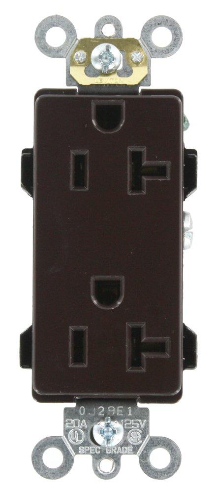 Leviton 16352 20-Amp, 125-Volt, Decora Plus Duplex Receptacle, Straight Blade, Commercial Grade, Self Grounding, Brown