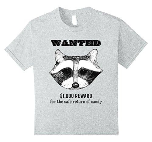 Kids Kids Halloween Candy Shirt Funny Animal Costume Raccoon Tee 8 Heather Grey - Very Quick And Easy Halloween Costumes