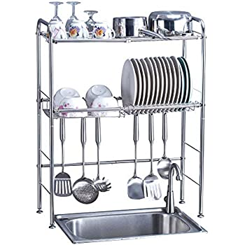 Amazon Com Delite Home 2 Tier Stainless Steel Over Sink Dish Drying