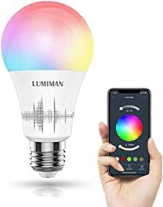 WiFi Smart LED Light Bulb Multicolor, Compatible with Alexa and Google Home, No Hub Required, A19, 7.5W (70W Equivalent), LUMIMAN LM530