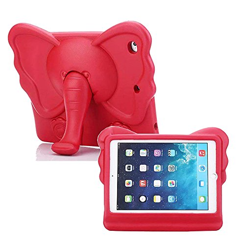 iPad Mini Kids Case, Tading Non-Toxic Child Friendly Light Weight EVA Foam Shockproof Super Protection Tablet Cover Holder with Kickstand for iPad Mini/Mini 2/ Mini 3/ Mini 4 - Elephant Design, Red