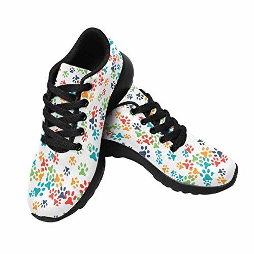 D-histoire Jogging Running Sneaker Patte De Chien Coloré Womens Casual Confort Sport Marche Chaussures De Course Noir