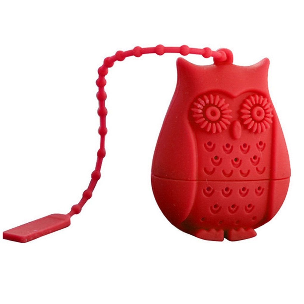 Gloryhonor Cartoon Owl Silicone Loose Tea Infuser Filter Strainer Novelty Perforated Gift - Red