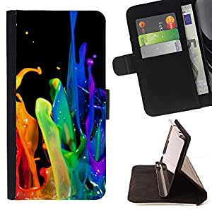 For LG G3 Case , Dinámica gota Rainbow Negro Gay- la tarjeta de Crédito Slots PU Funda de cuero Monedero caso cubierta de piel