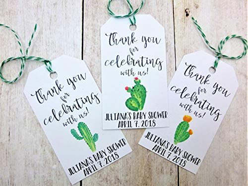 Cactus Succulent Thank You Tags Baby Shower Favors OH BOY Its A Boy Luggage Tag BOHO Personalized Tags Fiesta Party 1st Birthday Theme -