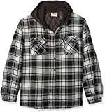 Wrangler Authentics Men's Long Sleeve Quilted Lined Flannel Shirt Jacket with Hood, Caviar With Black, XX-Large