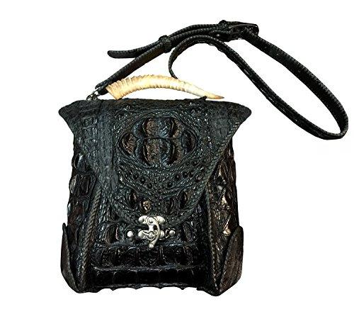 D'SHARK Men's Luxury Crocodile/Alligator Leather Cross Body Shoulder Messenger Bag (Black)