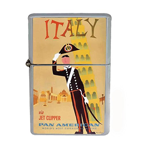 Wind Proof Dual Torch Refillable Lighter Vintage Poster D-085 Italy Via Jet Clipper Pan American World's Most Experienced Airline by Perfection In Style