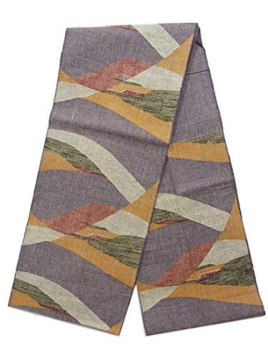 谷耐えられるチケットリサイクル 名古屋帯  紬 正絹 曲線模様 八寸